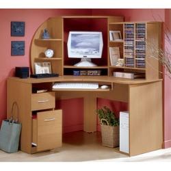 Угловой компьютерный стол с полками и ящиками для школьника