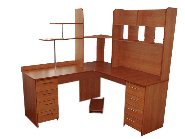 Компьютерный стол с полками и ящиками фото